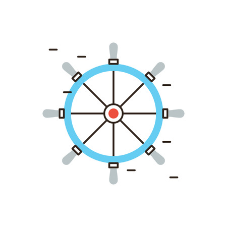 nautical vessel: Thin line icon with flat design element of boat steering wheel, rudder on yacht or cruise ship, handle on helm, navigation control for nautical vessel. Modern style logo vector illustration concept. Illustration