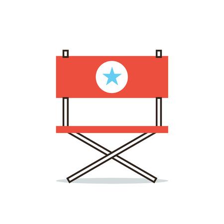 Dunne lijn pictogram met platte design element van fauteuil hollywood ster, de positie van de regisseur, filmproducent, belangrijke acteur, belangrijkste rol. Moderne stijl logo vector illustratie concept. Stock Illustratie