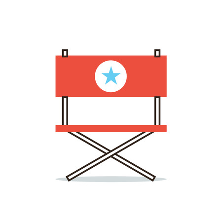 business roles: Thin line icon with flat design element of armchair hollywood star, position of director, movie producer, important actor, main role. Modern style logo vector illustration concept.