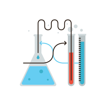 reaction: Thin line icon with flat design element of laboratory glassware, chemistry test, lab bulb, science experiment, medical reaction, biological research. Modern style logo vector illustration concept. Illustration
