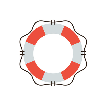 Thin line icon with flat design element of lifebuoy preserver, life support and help service, lifeguard emergency aid, lifesaver security. Modern style logo vector illustration concept.