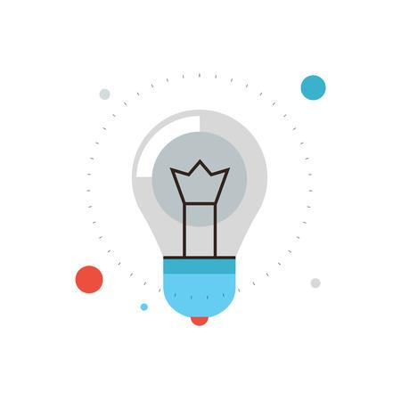 planos: Icono de línea delgada con elemento plano de diseño de la idea de éxito de la innovación, potente bombilla eléctrica, la energía luminosa de la lámpara, bombilla de bajo. Logotipo del estilo de ilustración vectorial moderno concepto. Vectores