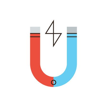 magnetismo: Icona linea sottile con TV elemento di design di energia magnetica, campo elettrico, il potere di magnete, forza che attrae, il magnetismo naturale. Stile moderno logo concetto illustrazione vettoriale.