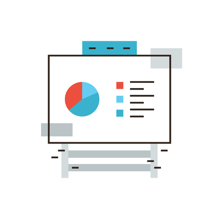 Thin line icon with flat design element of company statistics on flipchart board, market data report, info chart on whiteboard, corporate infographic. Modern style logo vector illustration concept.