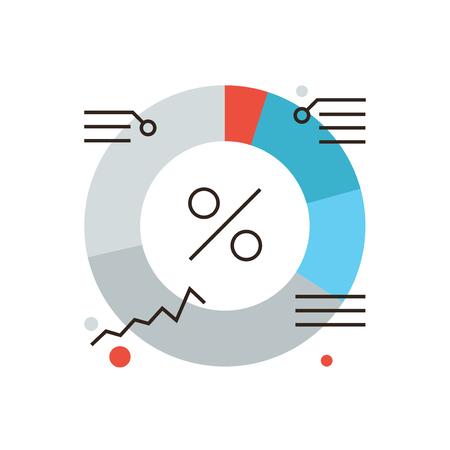 Icono de línea delgada con elemento plano de diseño de acciones diagrama mercado, infografías financieros de la empresa, valor porcentual del presupuesto, análisis empresarial. Logotipo del estilo de ilustración vectorial moderno concepto.