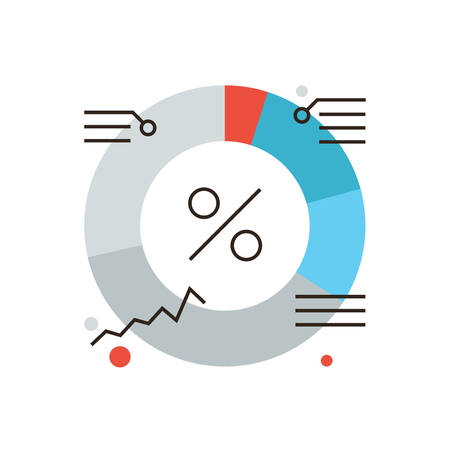Thin line icon with flat design element of market diagram shares, company financial infographics, budget percentage value, corporate analysis. Modern style logo vector illustration concept. Иллюстрация
