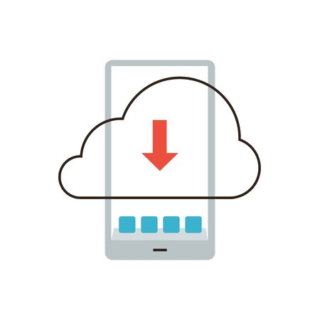 downloading content: Thin line icon with flat design element of cloud computing data storage on smartphone, mobile phone information backup, download application. Modern style logo vector illustration concept.
