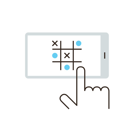 handheld device: Thin line icon with flat design element of casual mobile game, handheld gaming on smartphone, play tic-tac-toe, tactics and strategy for victory. Modern style logo vector illustration concept. Illustration