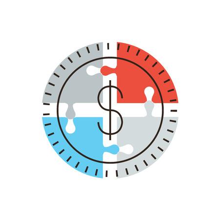 fondos negocios: Icono de línea delgada con elemento de diseño plano del éxito dinero rompecabezas, aporte financiación de las empresas, la fuente de financiación del mercado, fondo colectivo. Logotipo del estilo de ilustración vectorial moderno concepto.