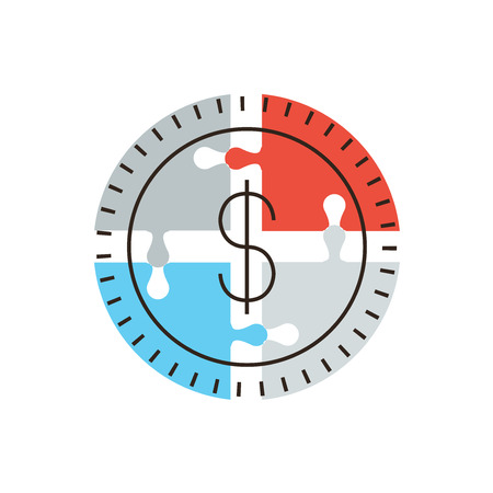 Thin line icon with flat design element of success money puzzle, business financing contribution, market funding source, collective fund. Modern style logo vector illustration concept. Logo