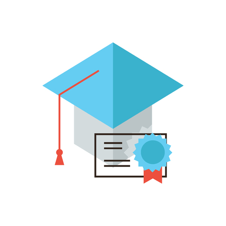 mortarboard: Thin line icon with flat design element of certificate education, master hat, mortarboard student, graduation diploma, guarantee quality of knowledge. Modern style logo vector illustration concept.