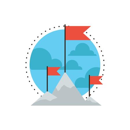 ICONO: Icono de línea delgada con elemento de diseño plano de la escalada pico de la montaña, la misión de éxito, puso una bandera en un logro desafío alta, el objetivo superior, caminatas al aire libre, el logotipo del estilo moderno concepto de ilustración vectorial.