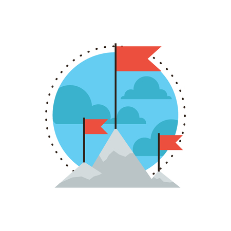 challenge: Thin line icon with flat design element of mountain peak climbing, success mission, put a flag on a top high, goal challenge achievement, outdoor hiking, Modern style logo vector illustration concept.