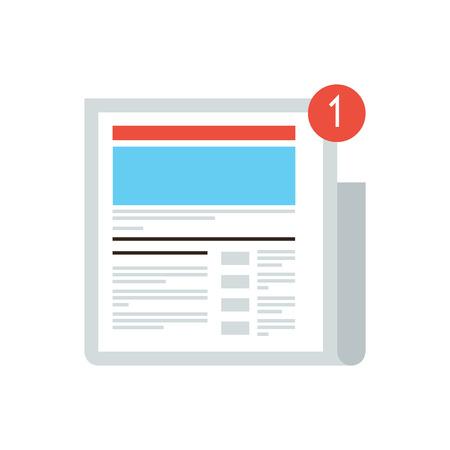 Dunne lijn pictogram met platte design element van het nieuws-update bericht mark, nieuwe digitale content, social media blog, internet krant, laatste nieuws artikel. Moderne stijl logo vector illustratie concept.