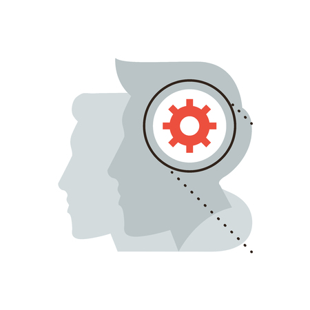 expertise: Thin line icon with flat design element of process of thinking, human brain working metaphor, technical idea, teamwork of people, thought work. Modern style logo vector illustration concept. Illustration