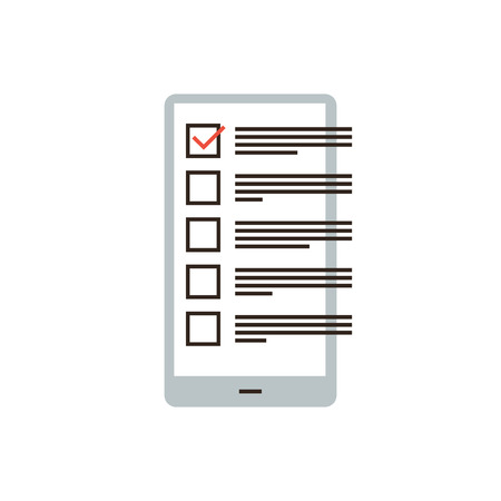 Thin line icon with flat design element of checklist in phone, reminder app smartphone, todo check list, application interface, business organizer. Modern style logo vector illustration concept.  イラスト・ベクター素材