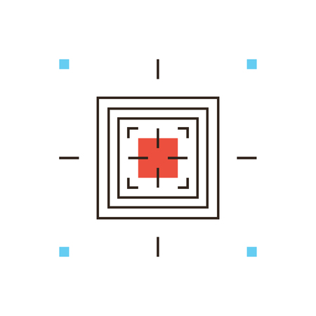 transponder: Thin line icon with flat design element of radio-frequency identification, RFID digital marker, wireless chip technology reading for commercial purpose. Modern style logo vector illustration concept.