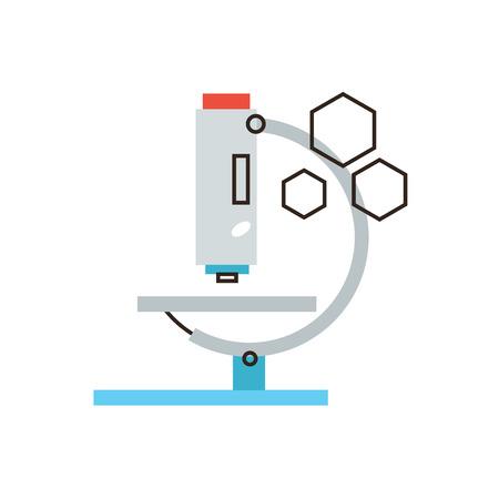 Dunne lijn pictogram met platte design element van de laboratoriumanalyse met medische microscoop, chemische test door lab-apparatuur, wetenschappelijk experiment studie. Moderne stijl logo vector illustratie concept.