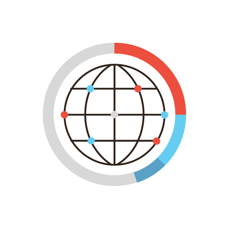 computer network diagram: Thin line icon with flat design element of global data graph and diagram, world network connection, worldwide analysis, internet communication dots. Modern style logo vector illustration concept.