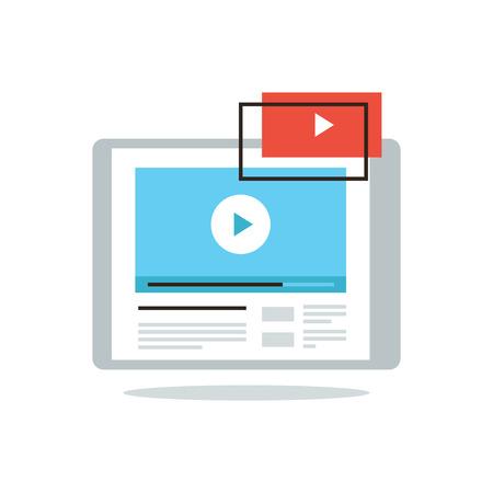 Dunne lijn pictogram met platte design element van de digitale tablet met video-speler-interface, broadcast media-kanaal, het delen van de film inhoud, streaming spelen. Moderne stijl logo vector illustratie concept. Stock Illustratie