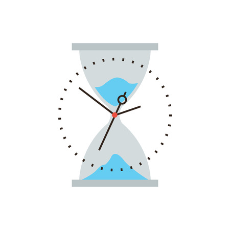out time: Thin line icon with flat design element of time is running out, business management, hourglass sand flow, timing control and optimization. Modern style logo vector illustration concept.