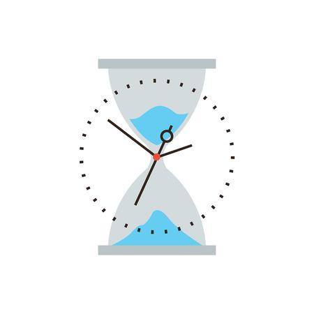 kavram: Zamanın düz tasarım elemanı ile ince çizgi simgesi, iş yönetimi, kum saati kum akışını tükeniyor kontrol ve optimizasyonu zamanlama. Modern stil logosu vektör çizim kavramı.