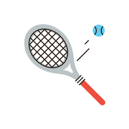 Thin line icon with flat design element of tennis racket, professional sports playing, play match, pitch ball, sporting gear, leisure active game. Modern style logo vector illustration concept.