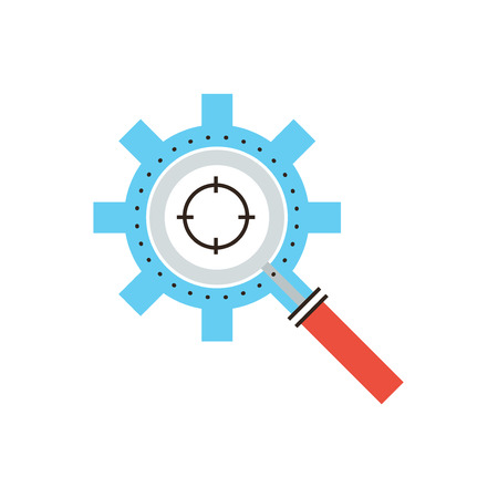 relevant: Thin line icon with flat design element of search engine optimization, seo target audience, magnifier tool for targeting focus, keywords search process. Modern style logo vector illustration concept.