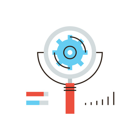 analyzing: Thin line icon with flat design element of search engine optimization, SEO analysis of website progress, cogwheel working process, web content analyzing. Modern style logo vector illustration concept.