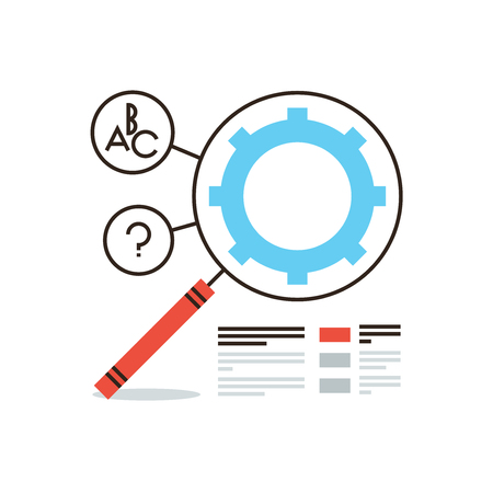 popularity: Thin line icon with flat design element of process and gear SEO infographic process, search engine optimization gear, web data analysis tools. Modern style logo vector illustration concept.