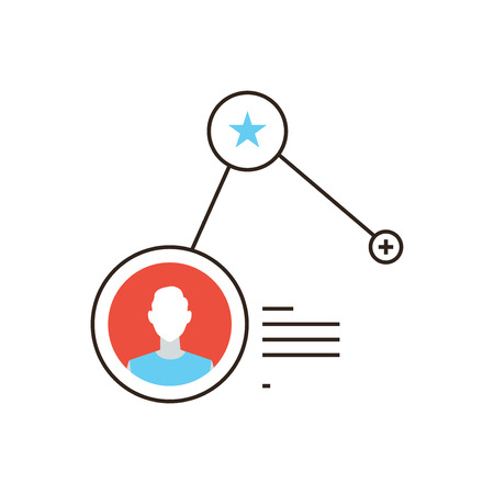 new account: Thin line icon with flat design element of add friend in social network, subscribe to user profile info, people networking statistics. Modern style logo vector illustration concept. Illustration