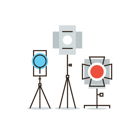 tripod projector: Thin line icon with flat design element of studio lighting equipment, spotlight for cinema or photography, electronic flash for camera, lightning strobe. Modern style logo vector illustration concept.
