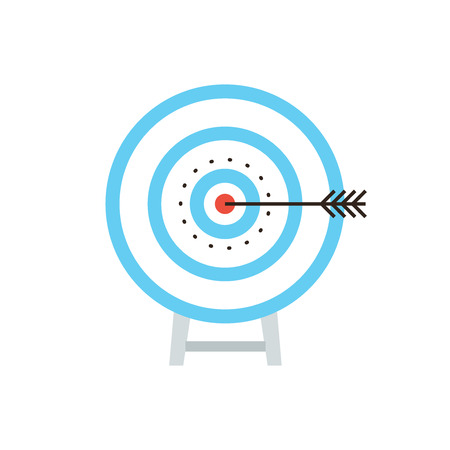Thin line icon with flat design element success shot on target, archery dartboard, direct hit at bulls eye, maximum result, top performance and aim score. Modern style logo vector illustration concept. Stock Illustratie