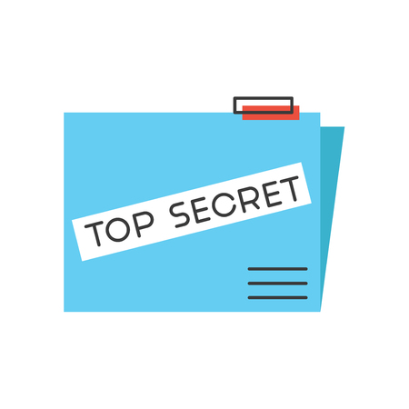 secret information: Thin line icon with flat design element of top secret folder, fbi confidential report, high classified data files, government archive information. Modern style logo vector illustration concept.