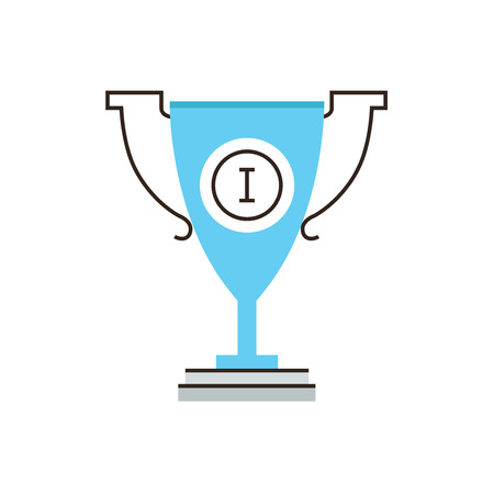 competition success: Thin line icon with flat design element of first place award, winner of competition, athletic award, trophy cup for leader, professional sports victory prize. Modern logo vector illustration concept.