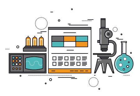 laboratorio: Diseño plano delgada línea de investigación de la ciencia eléctrica, documentación técnica en el sitio web, tubo de la lámpara de vacío y el osciloscopio retro. Moderno concepto de ilustración vectorial, aislados en fondo blanco.