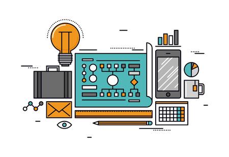 mente: Dise�o delgado l�nea plana del proceso de planificaci�n de negocio, extracto flujo de trabajo infogr�fico, equipo de oficina, elementos del mapa mental de la organizaci�n. Moderno concepto de ilustraci�n vectorial, aislados en fondo blanco.