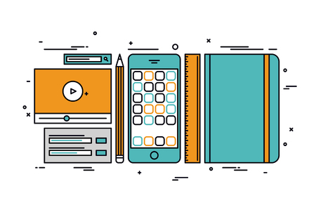 usability: Thin line flat design of smartphone app development, designer and coder sketch tools, prototyping usability interface for mobile phone. Modern vector illustration concept, isolated on white background. Illustration