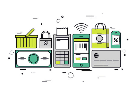 sell online: Thin line flat design of online shopping checkout, buying store goods by pos terminal, sell mass-market product via internet merchant. Modern vector illustration concept, isolated on white background. Illustration