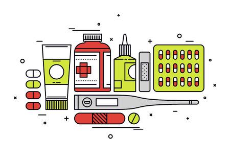 primeros auxilios: Línea fina diseño plano de los suministros de medicamentos, la aspirina y los analgésicos píldoras, instrumentos médicos, equipos de atención médica para el tratamiento de la salud. Moderno concepto de ilustración vectorial, aislados en fondo blanco.