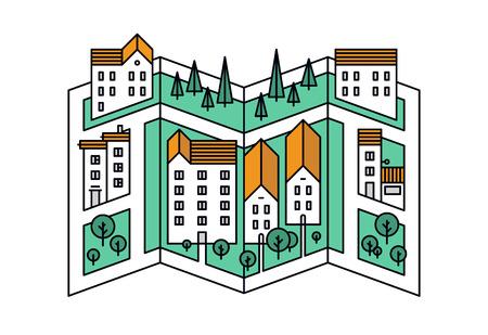 comunidad: Diseño plano delgada línea de mapa de calles de la pequeña ciudad, ciudad ubicación del distrito con pequeños edificios y árboles verdes, mapeo camino de la aldea. Moderno concepto de ilustración vectorial, aislados en fondo blanco.