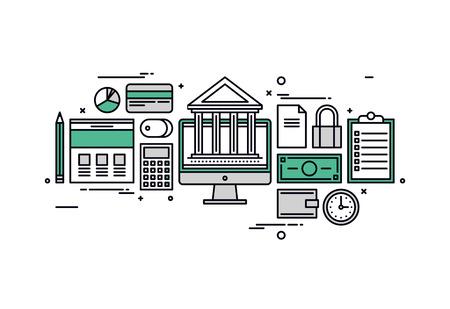 Dunne lijn platte ontwerp van online bankdiensten, financiële planning document, marktonderzoek analyse, geld investeren elementen. Moderne vector illustratie concept, geïsoleerd op een witte achtergrond.