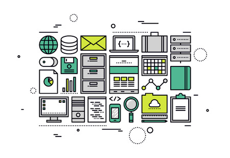 gestion: Diseño delgado línea plana de operaciones de gestión de base de datos SQL, el servicio de programación de la computación en nube, gran empresa contable datos documento. Moderno concepto de ilustración vectorial, aislados en fondo blanco.