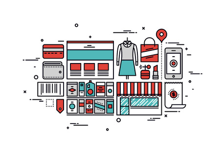 checkout line: Thin line flat design of online shopping goods, purchasing product via internet, mass market consumerism, e-commerce website service. Modern vector illustration concept, isolated on white background.