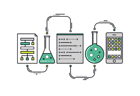 development process: Thin line flat design of laboratory experiment with scientific datum, chemical reaction process, science big data analysis, mobile app. Modern vector illustration concept, isolated on white background.