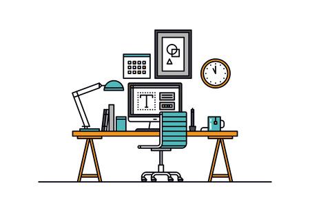 Cienka linia płaska nowoczesnej przestrzeni roboczej projektanta z komputerem stacjonarnym, miejsce pracy programistów, sprzętu artysty w biurze wnętrza. Nowoczesne ilustracji wektorowych koncepcji, samodzielnie na białym tle.