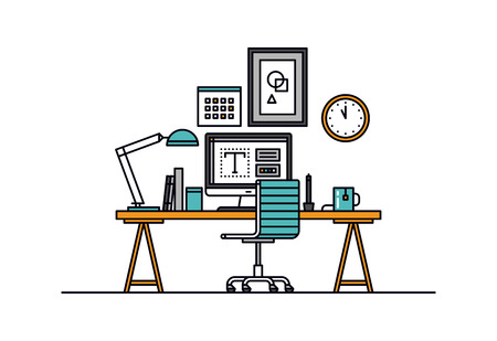 Thin line flat design of modern designer workspace with desktop computer, developer work place, artist equipment in office interior. Modern vector illustration concept, isolated on white background. Vettoriali