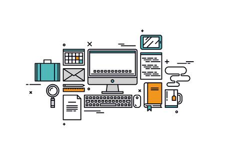 lijntekening: Dunne lijn platte ontwerp van de website programmering, web coder werkplaats gereedschap en apparatuur, software ontwikkelaar bureau artikelen. Moderne vector illustratie concept, geïsoleerd op een witte achtergrond. Stock Illustratie