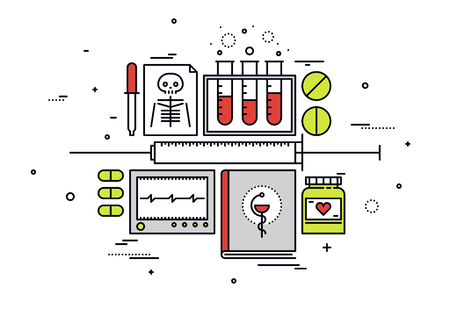 investigación: Dise�o plano delgada l�nea de equipos m�dicos, registros de la investigaci�n medicina y los hospitales, los diagn�sticos de salud, el an�lisis de la ciencia. Moderno concepto de ilustraci�n vectorial, aislados en fondo blanco.