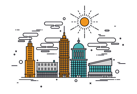 細い線フラット デザインを建築ビジネス街、商業ビル、通りの設備のオフィスの主要な中心。モダンなベクトル イラストのコンセプトは、白い背景